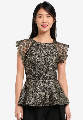 ZALORA black and gold Gold Crochet Lace Peplum Top 1B5F8AA5C15B60GS_1