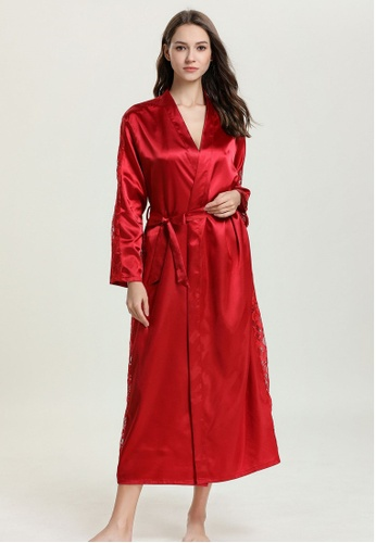 SMROCCO red Silk Luxurious Women Long Robes L8005 (Red) 3D910AACB94C99GS_1