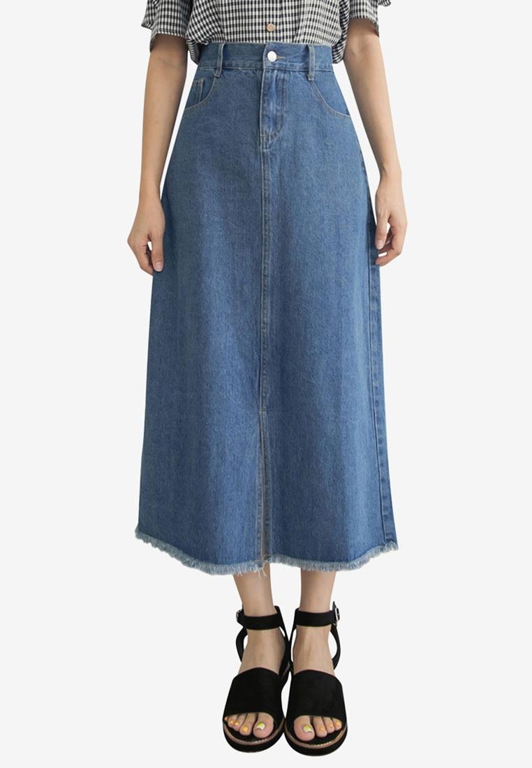 Tokichoi Maxi Skirt Blue Denim Split rw6q4r