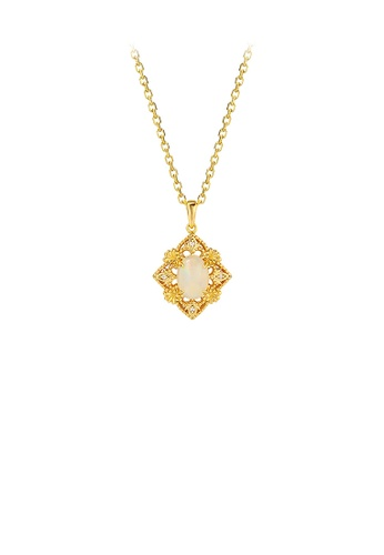 Glamorousky silver 925 Sterling Silver Plated Gold Fashion and Elegant Hollow Flower Geometric Diamond Pendant with Cubic Zirconia and Necklace 9DD43AC55695ECGS_1
