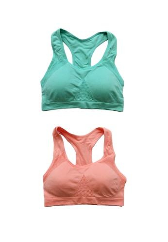 YSoCool pink and green Stretchable Racerback Padded Sports Bra - Set of 2 Pcs FF89AUSDD4D27EGS_1