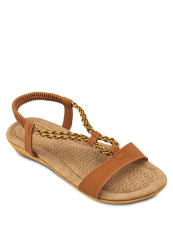 編織繞踝平底涼鞋, 女鞋, esprit outlet 旺角鞋