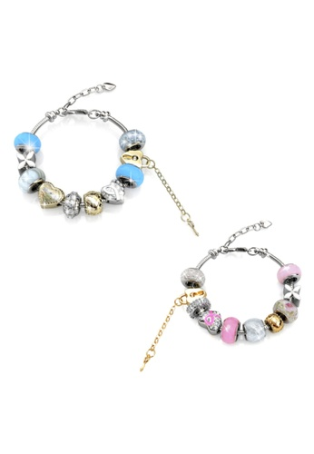 Her Jewellery pink and blue Mylady Charm Bracelet Set Bundle (Blue + Pink) - Made with Premium grade crystals from Austria 2755FAC2909845GS_1