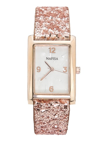 Chronomart gold Nafisa Women's Square Seashell Dial Leather Strap Watch CH783AC23KIMPH_1