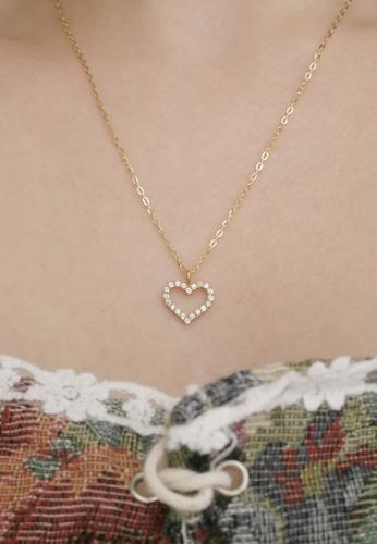 Fleur Jewelry gold 18K Solid Gold Cœur Genuine Diamond Heart Necklace 3DD46ACE206C71GS_1