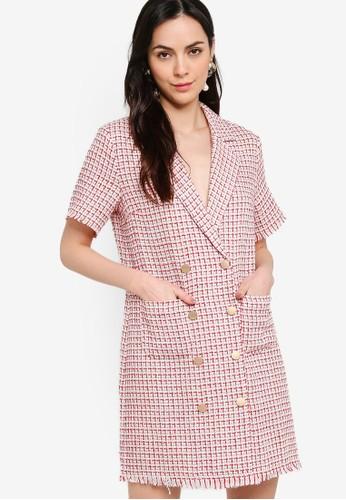 ZALORA WORK multi Double Breasted Tweed Dress 48A6CAA51296EDGS_1