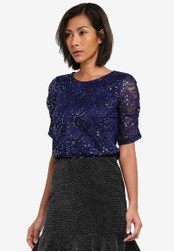 Dorothy Perkins navy Sequin Ruched Sleeve Top DO816AA0S7A1MY_1