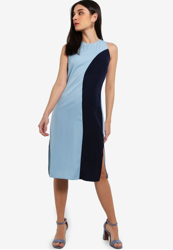 ZALORA 藍色 and 海軍藍色 Colourblock Sleeveless Dress With Slits 5DDC3AACFE9B27GS_1