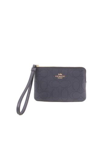 COACH black Coach Signature Leather 2961 Corner Zip Wristlet In Midnight 1D386ACADC7F09GS_1