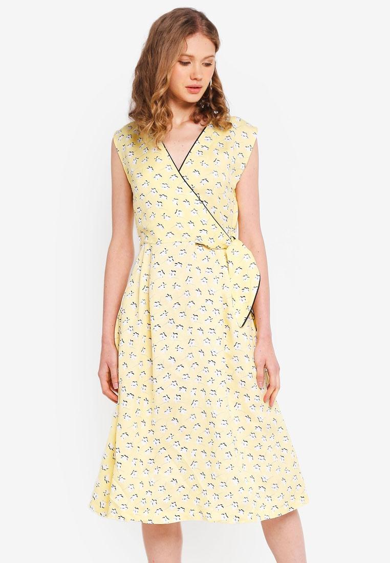 ESPRIT Light Woven Dress Yellow Midi wpgzYpq