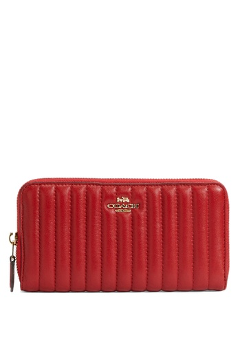 Coach red Coach Accordion Zip Wallet With Linear Quilting - Red 93CBCAC1584F53GS_1