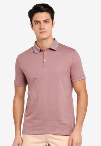 Burton Menswear London pink Pink Jacquard Collar Polo Shirt BU964AA0T1HVMY_1