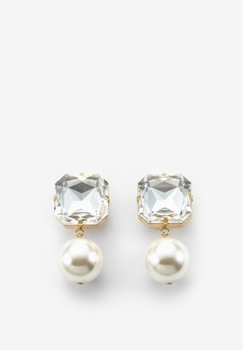 MONDAY EDITION white and silver and gold Bold Crystal Pearl Earrings 8F682ACEBB573CGS_1