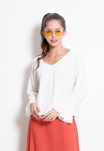 Fave white Long Ruffle Sleeve Woven Blouse 08A99AAAF63D36GS_1