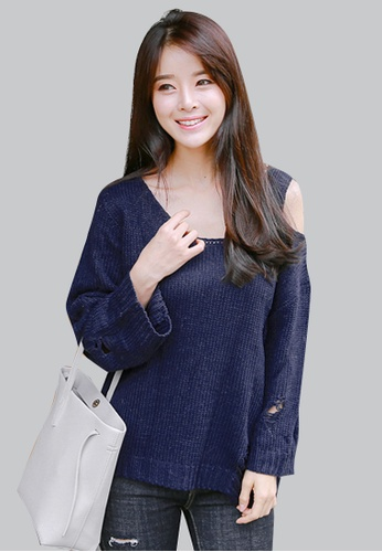 Sesura navy Distressed Hipness Knit Sweater C8088AACF010FBGS_1