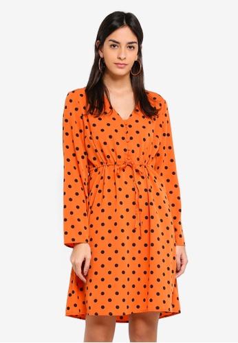 Pieces orange Kiva Dress 95792AAF6265FFGS_1
