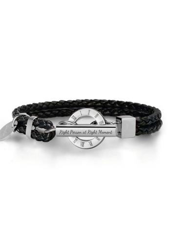 Crudo Leather Craft black La Memoria Double Woven Leather Bracelet - Piano Black (White Gold Edition) FD329AC6B58D6DGS_1