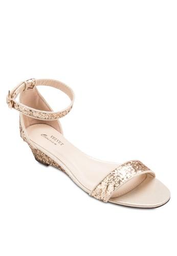 Occasion 閃面一字帶低跟楔型跟涼esprit 澳門鞋, 女鞋, 鞋
