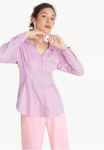 92100820b Shop Pomelo Cinched Stripe Button Down Shirt - Pink Online on ZALORA ...