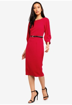 CLOSET red Closet Pleated Sleeve Pencil Dress A5B03AA0F0A2A3GS 1 fc0580f59e1e