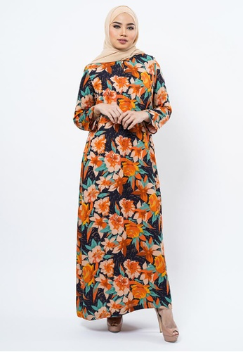 Bewa multi Teal and Orange Floral Jubah 26C02AAF4B2AADGS_1