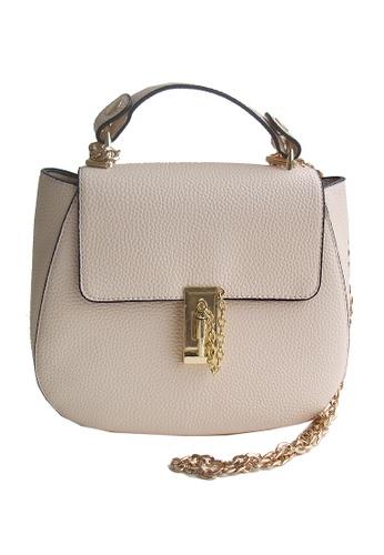 LULUGIFT beige Circle Luxury Beige Pu Leather Metal Chain Sling Bag LU989AC01VFQMY_1