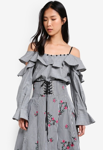 bYSI grey Grid Ruffled Off Shoulder Blouse BY867AA0SCSQMY_1