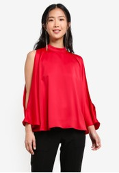 ZALORA red High Neck Cold Shoulder Top 6DEAEAAB480604GS_1