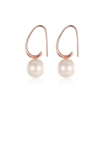 Glamorousky white Simple Plated Rose Gold Water Drop Pearl Earrings E3FB4ACB8A7F5FGS_1