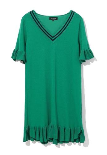 tout à coup green Frill trim knit dress 74304AA294662DGS_1