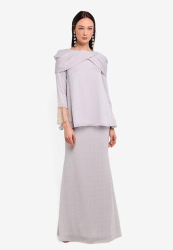 Alia B. grey Diana Modern Kurung With Draping And Pearl Detail AL946AA0STD6MY_1