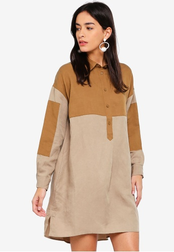 French Connection brown Caspia Linen Long Sleeve Shirt Dress 5618FAAE803084GS_1
