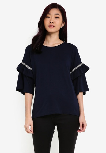 Dorothy Perkins navy Embellished Frill Sleeve Blouse DO816AA0RQU5MY_1