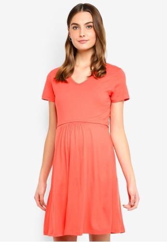 Spring Maternity orange Maternity Short Sleeves Betsy V Neck Dress 22842AA583A37CGS_1