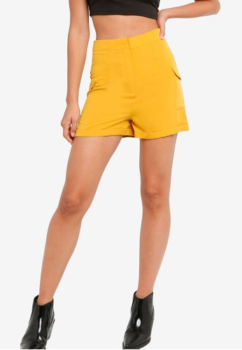 ZALORA YOUNG yellow High Wasited Shorts With Utility Pocket 7538EAA67BD44DGS_1