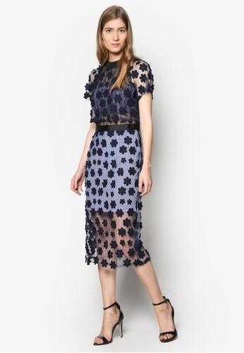 Lesleesprit outlet 高雄y 高領蕾絲及膝洋裝, 服飾, 洋裝