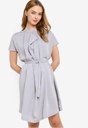 ZALORA WORK grey High Neck Self Tie Dress 8CDACAA53E1FA7GS_1