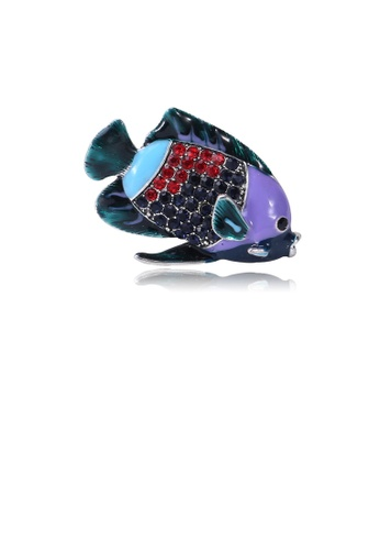 Glamorousky silver Simple and Cute Colored Fish Brooch with Cubic Zirconia 4D508ACBC5A8D3GS_1