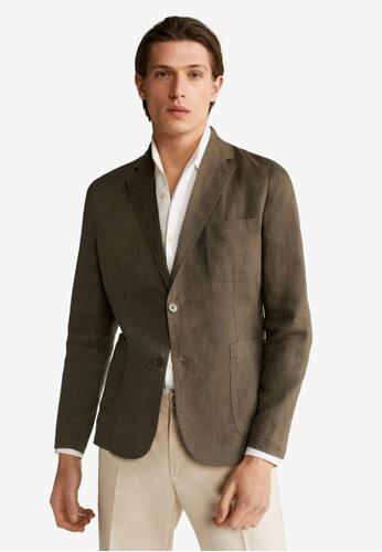 MANGO Man brown 100% Linen Slim Fit Blazer C5198AA7A6081BGS_1