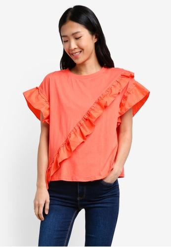 Mango orange Ruffle Cotton T-Shirt MA193AA0RXS8MY_1