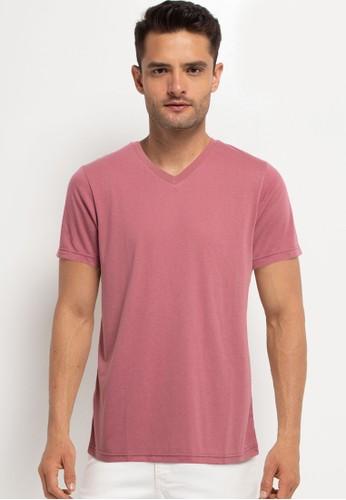 Tolliver pink V Neck Basic Short Sleeve Tee 7D483AA030E55FGS_1