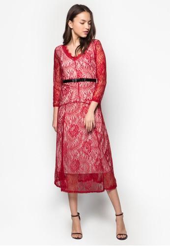 復古esprit台灣門市風蕾絲及膝洋裝, 服飾, 服飾