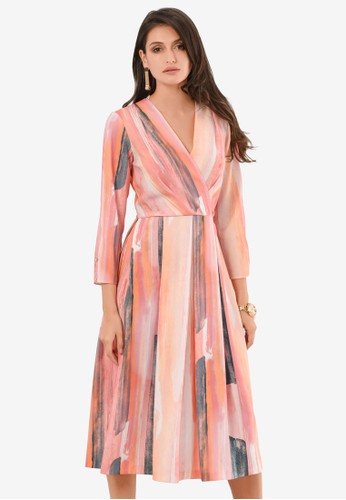 CLOSET pink Pleated Wrap Dress BFE6EAA62AC0CCGS_1