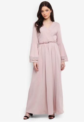 Zalia pink Lace Trim Wrap Dress 6D039AA82EE3C4GS_1