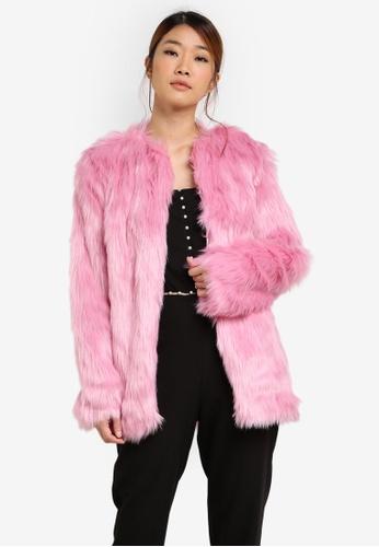 Miss Selfridge pink Pink Fur Coat MI665AA0SD8JMY_1