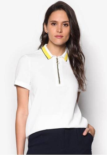 撞色領拉鍊POLO 衫、 服飾、 服飾DorothyPerkins撞色領拉鍊POLO衫最新折價