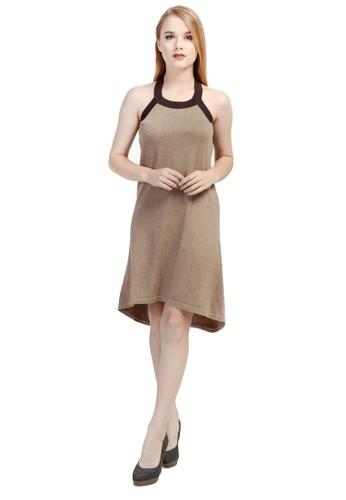 Knitwork beige Knitwork Beige Melange Round Neck Tank Top Dress KN788AA40TVVID_1