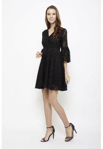 Sophialuv black Lace Be Honest Babydoll Bell Sleeves Dress in Black 53270AA909CCFEGS_1