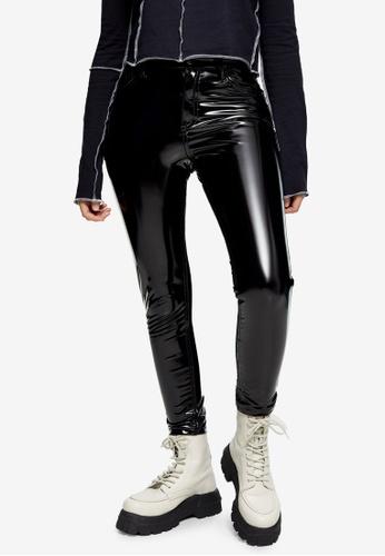 TOPSHOP black PETITE Black Vinyl Jamie Skinny Jeans 0A5A7AAE6E1831GS_1