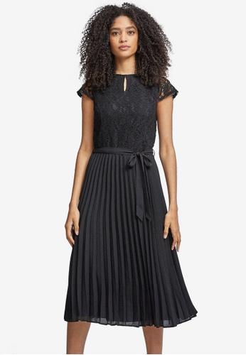 Dorothy Perkins black Pleated Alice Lace Midi Dress 14897AA05E8762GS_1